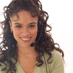 stock photo of woman with headset